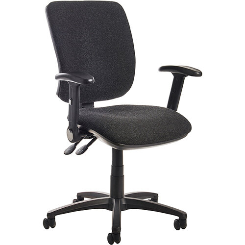 Senza high back operator chair with folding arms - charcoal