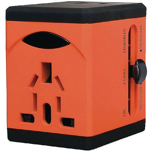 Snopake VariPlug Universal Travel Adapter USB Output Orange