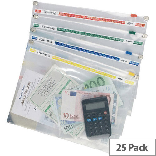 Snopake Zippa Bag 250x180 Assorted Pack of 25 11448
