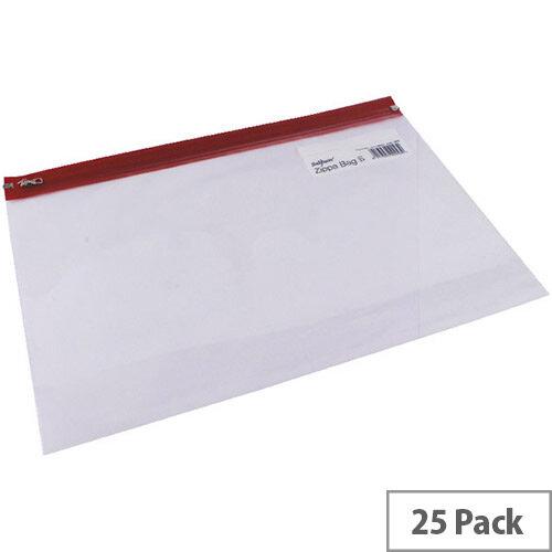 Snopake Zippa Bag A4+ Red Pack 25 12805