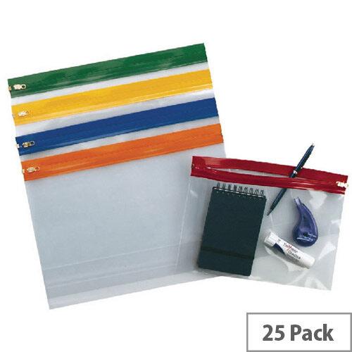 Snopake Zippa Bag A4 Plus Plus Assorted Pack of 25 12821