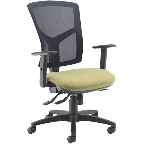 Senza high mesh back operator chair with adjustable arms - charcoal