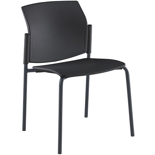 Santana 4 leg stacking chair with plastic seat and back, black frame and no arms - made to order