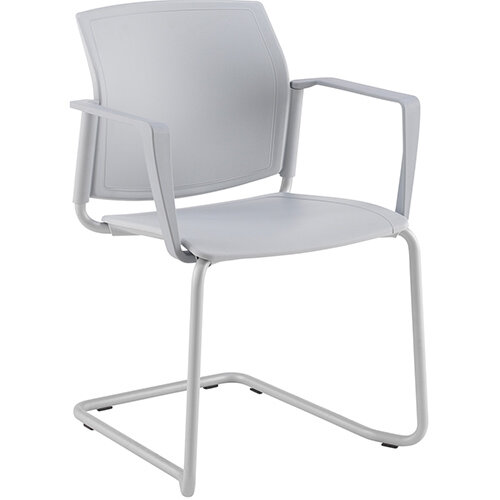 Santana cantilever chair with plastic seat and back, grey frame and fixed arms - white