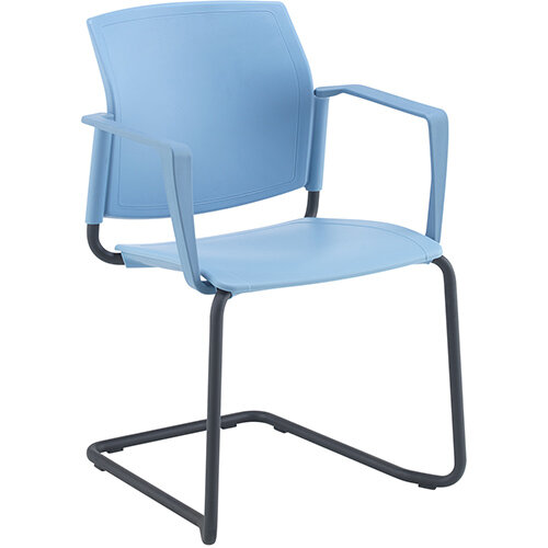 Santana cantilever chair with plastic seat and back, black frame and fixed arms - white