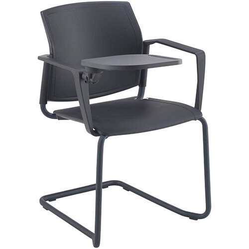 Santana cantilever chair with plastic seat and back, black frame with arms and writing tablet - white