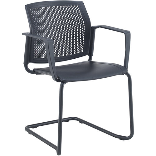 Santana cantilever chair with plastic seat and perforated back, black frame with arms and writing tablet - grey