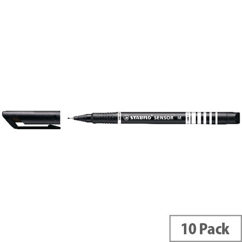 Stabilo Sensor Fineliner Medium Black Pack of 10 187/46