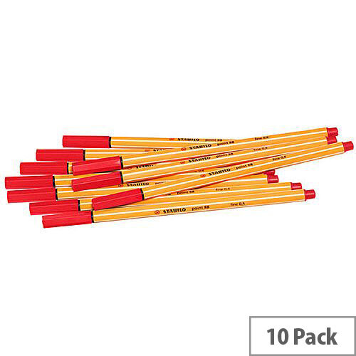 Stabilo Point 88 Fineliner Pen Red 10 Pack 88/40