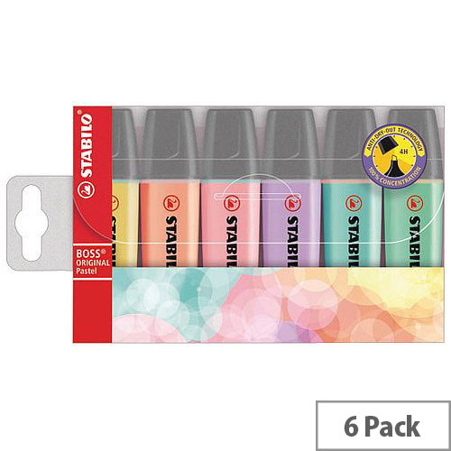 STABILO BOSS Original Highlighters Assorted Pastel Colours Pack of 6 Refillable Highlighters. Anti-Dry-Out Technology For Up To 4 Hours Cap-Off-Time. 2 Thicknesses In 1 Tip (2mm &5mm). Ideal For Schools, Colleges, Offices, Homes &More.