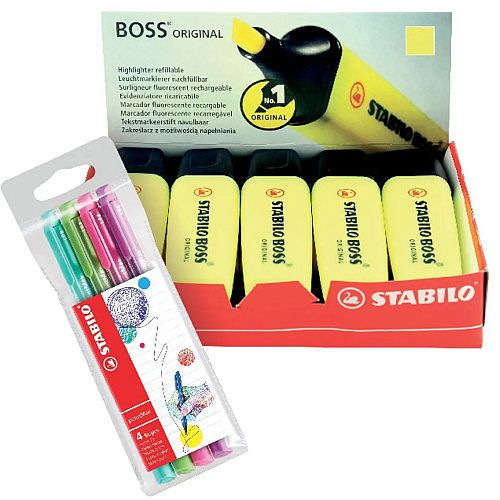Stabilo Boss Highlighter Yellow Pack of 10 FOC Fibre Tip Pen Pack of 4 SS811675