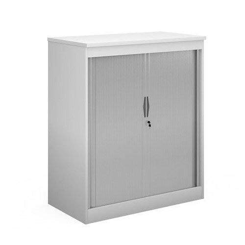 Systems Horizontal Tambour Door Cupboard 1200Mm High - White