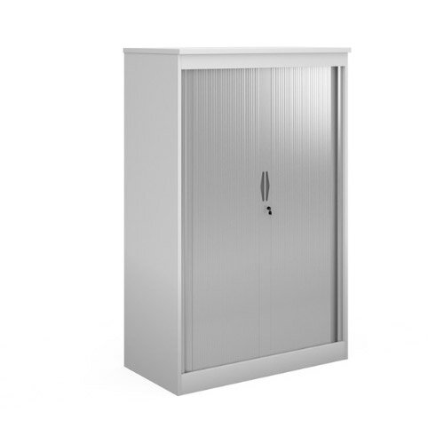 Systems Horizontal Tambour Door Cupboard 2000Mm High - White