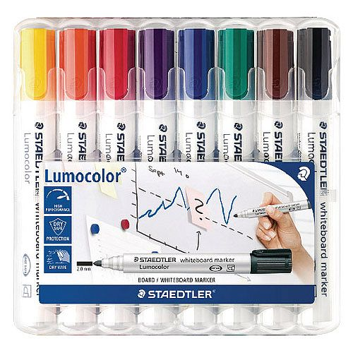 Staedtler Lumocolor 351 Drywipe Whiteboard Markers Assorted Pack of 8 351 WP8