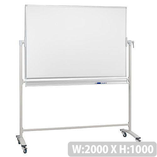 Franken Revolving Magnetic Whiteboard Enamel Surface Aluminium Frame 2000x1000mm ST203
