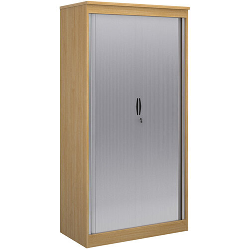 Systems horizontal tambour door cupboard 2000mm high - oak