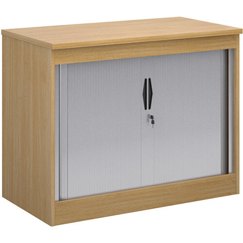 Systems horizontal tambour door cupboard 800mm high - oak