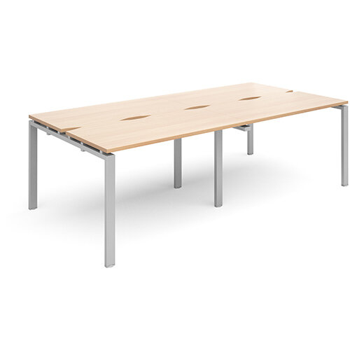 Adapt II sliding top double back to back desks 2400mm x 1200mm - silver frame, beech top