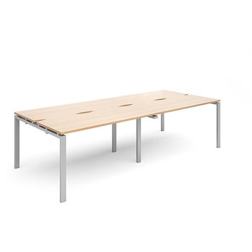 Adapt II sliding top double back to back desks 2800mm x 1200mm - silver frame, beech top