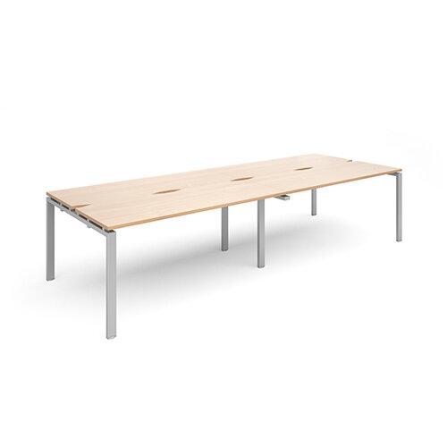 Adapt II sliding top double back to back desks 3200mm x 1200mm - silver frame, beech top