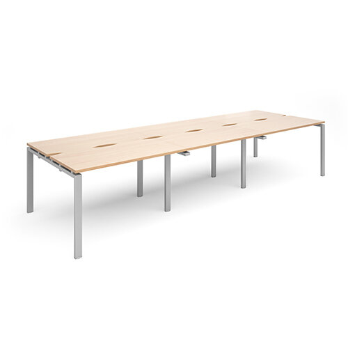 Adapt II sliding top triple back to back desks 3600mm x 1200mm - silver frame, beech top