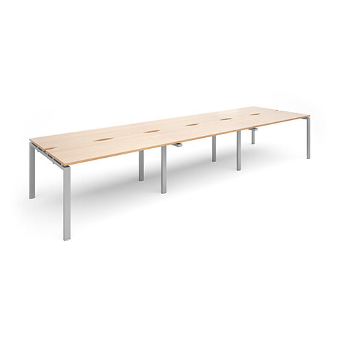Adapt II sliding top triple back to back desks 4200mm x 1200mm - silver frame, beech top