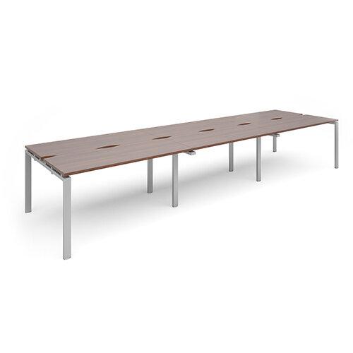 Adapt II sliding top triple back to back desks 4200mm x 1200mm - silver frame, walnut top