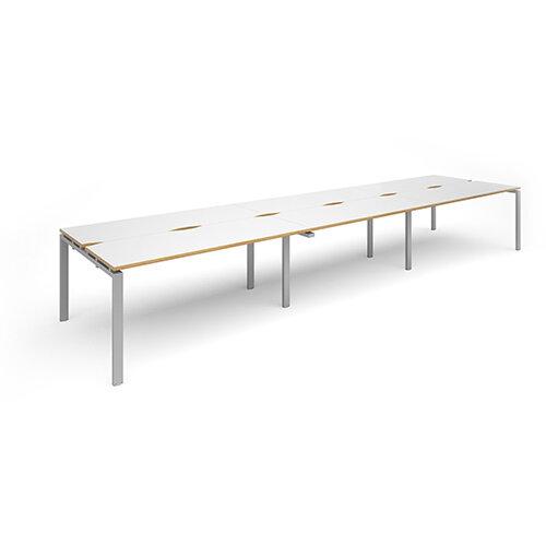 Adapt II sliding top triple back to back desks 4800mm x 1200mm - silver frame, white top with oak edging