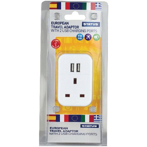 Status European USB Travel Adaptor Pack of 3 S2USBPTEURO1PK3