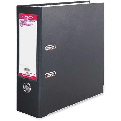 Sterling Space Binder Jumbo Lever Arch File Black - PVC Material, A4 Sheets, 2 Rings, 85mm Spine, Reinforced Edge, Spine Label, Finger Pull Ring &S-Lock Mechanism (FF291D)