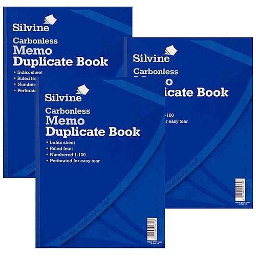 Silvine Blue A4 Carbonless Duplicate Memo Book Pack of 3