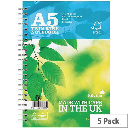 Silvine Blue FSC Certified A5 Notebook Pack of 5 R203