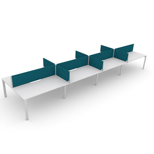 Switch 8 Person Bench Desk With Privacy Screens W 4x 1200mm x D 2x700mm