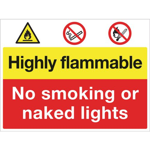 Sign Highly Flammable No Smoking 900x600 Aluminium