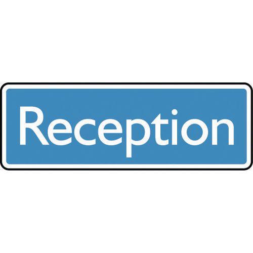 Sign Reception 200X75 Aluminium White On Blue