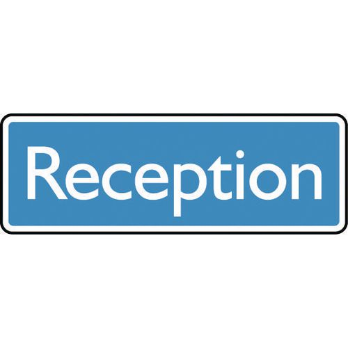 Sign Reception 300X100 Aluminium White On Blue