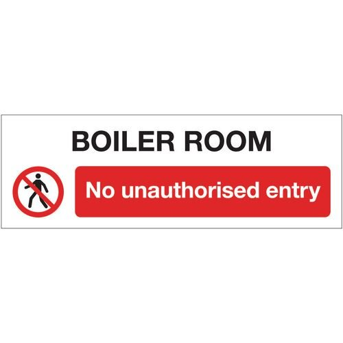 Sign Boiler Room No Unauth 600x200 Aluminium