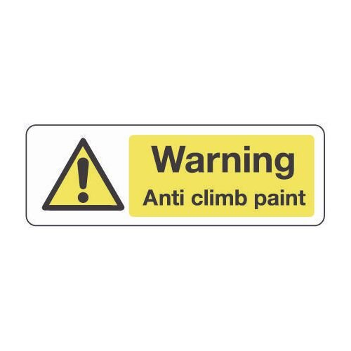 Sign Warning Anti Climb Paint 600x200 Aluminium