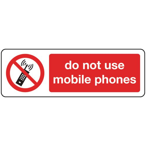 Sign Do Not Use Mobile Phones 300x100 Aluminium