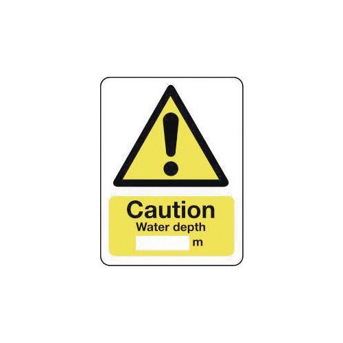 Sign Caution Water Depth 600X200 Aluminium
