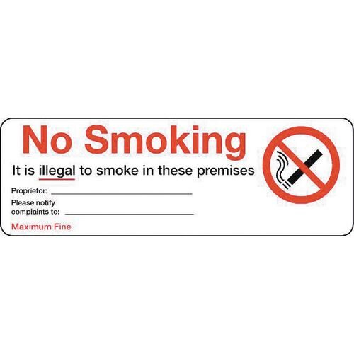 Sign No Smoking 600X200 Aluminium