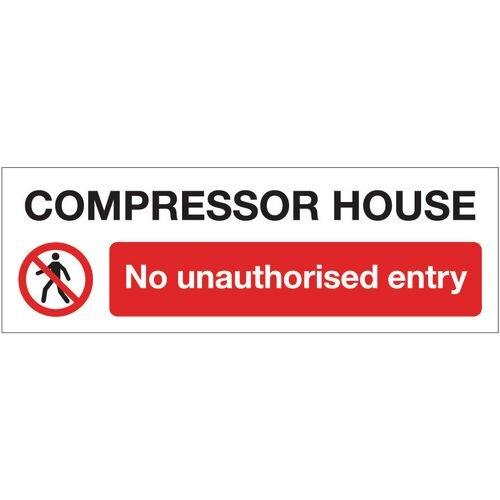 Sign Compressor House No 300x100 Rigid Plastic