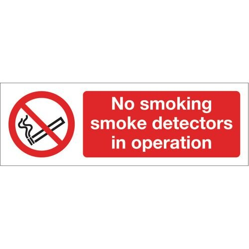 Sign No Smoking Smoke Detectors 600X200 Rgid Plastic