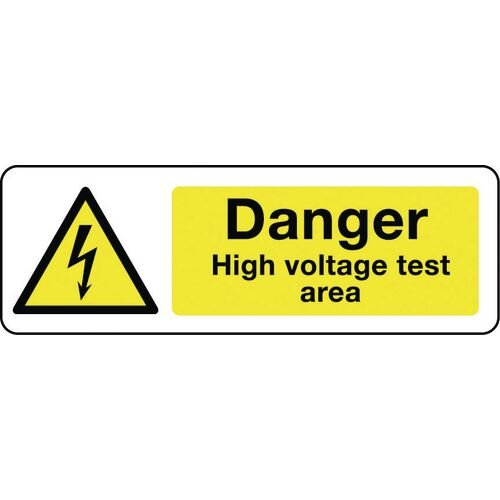 Sign Danger High Voltage Test Area 600X200 Rgid Plastic