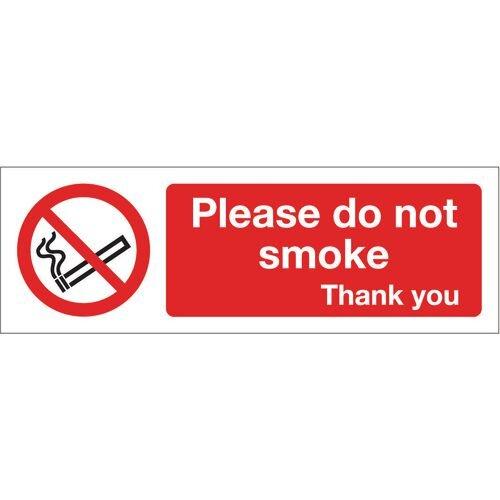 Sign Please Do Not Smoke 300x100 Rigid Plastic