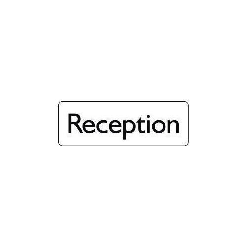 Sign Reception 200X75 Rigid Plastic Black On White