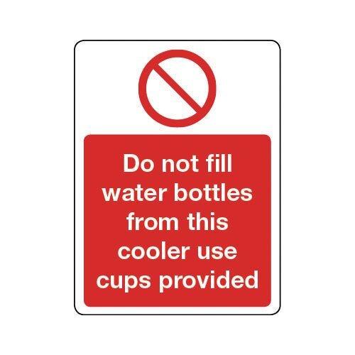 Sign Do Not Fill Water Bottles Rigid Plastic 300x100
