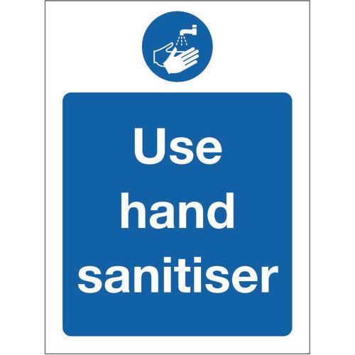 Sign Use Hand Sanitiser Rigid Plastic 150x200