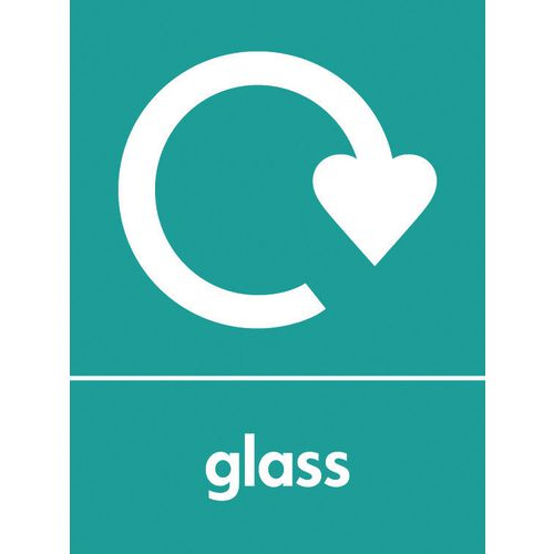 "Recycling Sign ""Glass"" Rigid Plastic 300x400mm"
