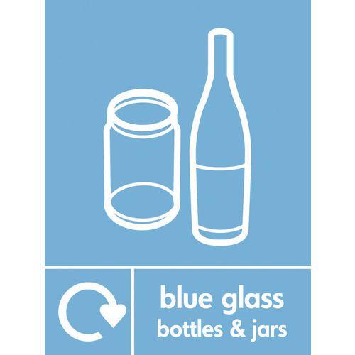 "Recycling Sign ""Blue Glass Bottles"" Rigid Plastic 150x200mm"